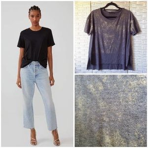 Zara Gold Foil Gray Vented Raw Hem T-Shirt